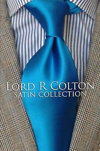 Lord R Colton Satin Tie - Solid Peacock Blue Silk Necktie - $79 Retail New