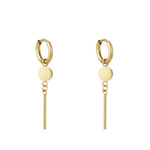 18ct Gold-Plated 11mm Hoop Earrings with Circle & Bar
