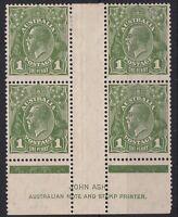 G802) Australia 1931 KGV 1d Green C of A wmk Ash imprint block of 4 BW 82z