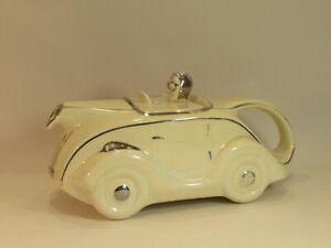 SADLER VINTAGE CLASSIC ART DECO CREAM RACING CAR TEA POT NO.PLATE OKT42 - C.1937