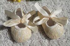 Elegante Bordado Zapatos de cochecito bebé niña Zapatitos para BAUTIZO Encaje