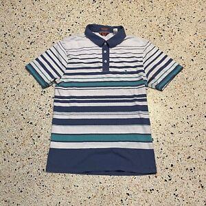 VINTAGE Original Penguin Polo Shirt Mens Medium White Blue Heritage Slim Fit