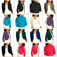 Ladies 3/4 Sleeve Bolero Sweater Jacket Womens Shrug Cardigan S-XXL ac1122