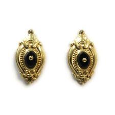 Antike Biedermeier 14 K Gold Ohrringe Schaumgold & Onyx um 1860 Earrings