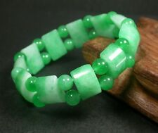 CHINESE Green JADE Rectangle Bamboo Bead Beads Beaded Bangle Bracelet 236356
