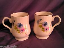 2 Vintage MARYLEIGH POTTERY COFFEE MUGS ENGLAND FLOWERS FLORAL NICE!!