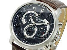 CASIO BESIDE Chronograph BEM506BL-1 BEM-506BL-1 Brown Leather Band Quartz !