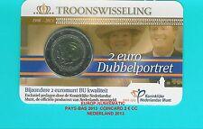 """PAYS-BAS 2013 2 EURO COMMEMORATIVE """"DOUBLE PORTRAIT"""" COINCARD BU   SUPERBE"""