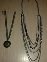 2 x Chain necklaces, One with pendant