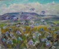 ORIGINAL SIGNED Impressionism Forget-me-nots, Wensleydale. OIL. YORKSHIRE Dales.