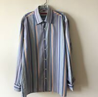Luchiano Visconti Striped Shirt Long Sleeve French Cuffs Italy Men's L Large New