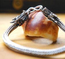 Silberarmband 20 cm Handarbeit Silber Drache Armband Ø 5 Geflochten Zopf MASSIV