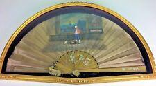 GRAND EVANTAIL PERICON. BOIS. SATIN PEINT À LA MAIN. ESPAGNE. CIRCA 1850
