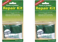 2 Set Lot Coghlan's Plastic Rubber Repair Kit w .3oz. Cement Rasp 5 Rubber Patch