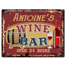 PMWB0536 ANTOINE'S WINE BAR OPEN 24HR Rustic Chic Sign Home Store Decor Gift