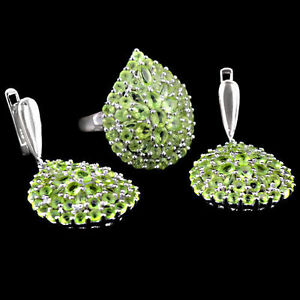 Natural Green Peridot Gemstone 925 Sterling Silver Ring Earring Jewelry Set