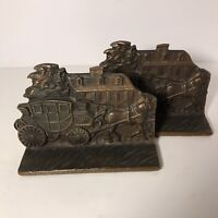 Pair Of Antique 1920's  Gilded Bronze Cast Iron Stage Coach Bookends