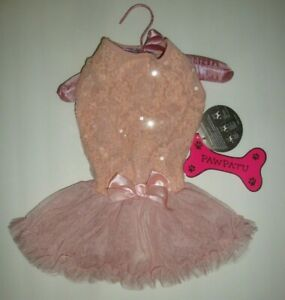 Pawpatu Dog Fancy Holiday Party Lace Sequins Ruffle Petti Dress Dusty Rose Sz L