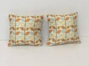 Dolls house cushions in retro fabric (pair) beautifully handmade