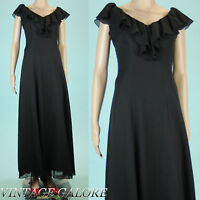 VTG 80s 90s Black long evening Ruffle Formal Layered Flowy maxi gown dress Sz S
