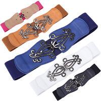 Women Retro Wide Stretch Elastic Corset Buckle Waist Belt Dress Waistband 5Color