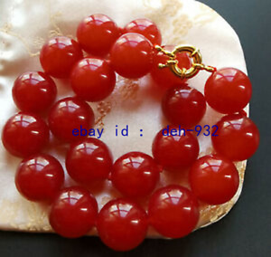 """Huge 16mm mountain Red Jade beads gemstone necklace Beads Knotted 18"""""""