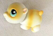 "Yellow White 1"" Mini Bobble Head Littlest Pet Shop Baby Bull Dog Figurine"