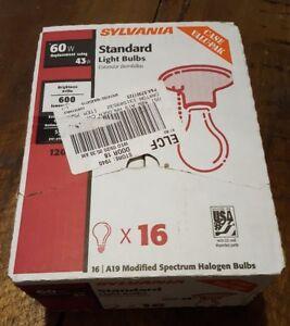 Sylvania 52637 Halogen Light Bulbs, A-19, 43/120 Watt/Volt 15 Pack