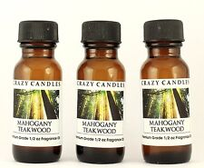 3 Mahogany Teakwood 1/2oz Premium Grade Scented Fragrance Oil Crazy Candles
