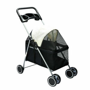 PaWz Large Pet Stroller Dog Cat Carrier Travel Pushchair Foldable Pram 4 Wheels