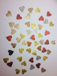 50 Christmas Mixed Die Cut Glitter Felt Hearts Red, Gold and Silver #2
