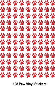 Paw Print cat dog vinyl stickers decals car fridge laptop bins walls x 108
