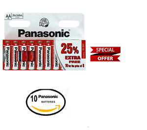 Panasonic AA Batteries   Zinc Carbon AA ,R6 pack of 10 batteries