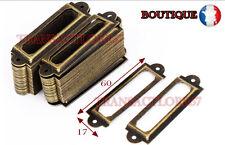 lot 6 Porte etiquette   60x17  Casier Tiroir Meuble de Metier Poignée Ancien