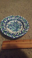 """Vintage White, Blue & Green Painted Ceramic Ashtray Stamped """"CP"""" On Bottom"""