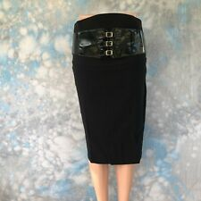 Spicy Sugar Sz 10 Black Stretch Belted Pencil Women's Skirt NWT