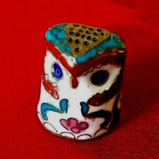 Vintage~Figure~Owl~Cloiso nne Enamel Gold~Thimble Sewing Collectible