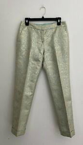 Tory Burch Gold Metallic Cropped Dress Pants sz 4