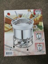 Fondue  Set. With 2 Fondue Pots & 6 Forks.  Stainless Steel & Porcelain. Unused.