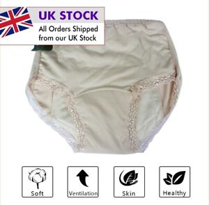 Women Ladies Cotton INCONTINENCE Pants WASHABLE WITH PAD Briefs Knickers UK
