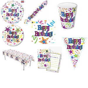 Happy Birthday Party Tableware Decorations Plates Napkins Banners Table Cover