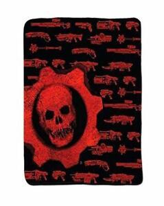 """Gears of War Fleece GunsThrow Blanket 40"""" x 50"""" RED BLACK by Loot Crate Gaming"""