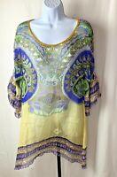 Cabi Womens Tunic Top Sz Small Green Yellow Blue Sheer Style 364 Merry Marrekesh