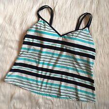 Tankini Top Swim Bathing Suit Blue White Striped Padded Bra NWT $86 Sz 18W