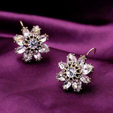 Clear Crystal Glass Flower Floral Daisy Bronze Stud Earrings
