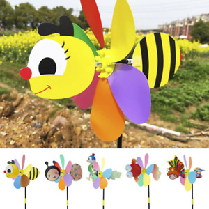 3D Cartoon Insects Windmills Toys Garden Spinner Pinwheel for Lawn Yard Decor