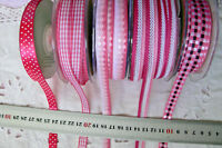 ROSE PINK & WHITE 10 mm Wide - 2, 3 & 5 Metres 5 Design Styles Choice H & ALD