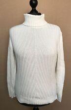 MAINE DEBENHAMS Ladies White 100% Cotton Roll Neck Jumper Chunky Ribbed Size 18