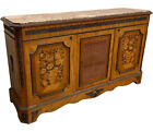 Antique Server with Floral Marquetry, Brass Accents,  Marble Top 1920's #11706
