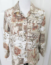 CHICO'S SIZE 1 SMALL WOMEN'S JACKET TOP SHADES OF BROWN PRINT LONG SLEEVES
